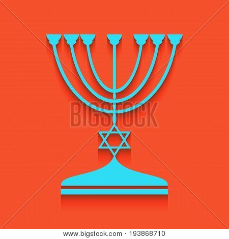 Jewish Menorah candlestick in black silhouette. Vector. Whitish icon on brick wall as background.