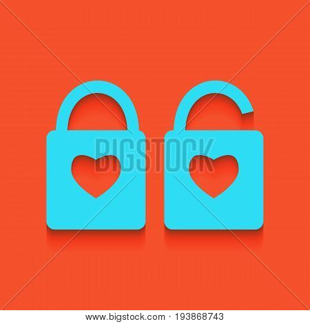 lock sign with heart shape. A simple silhouette of the lock. Shape of a heart. Vector. Whitish icon on brick wall as background.