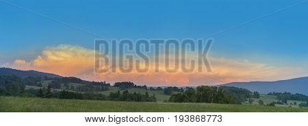 beautiful sunset - Sumava - Czech republic