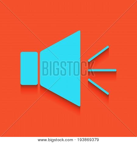 Sound sign illustration with mute mark. Vector. Whitish icon on brick wall as background.