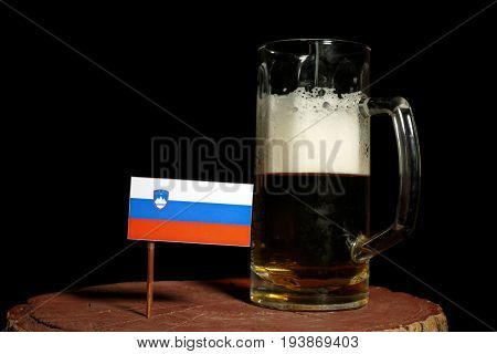Slovenian Flag With Beer Mug Isolated On Black Background