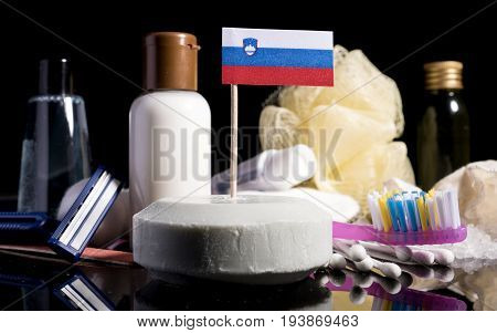 Slovenian Flag In The Soap With All The Products For The People Hygiene