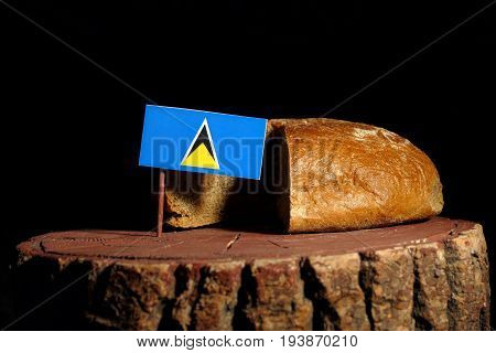 Saint Lucia Flag On A Stump With Bread Isolated