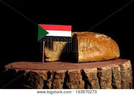 Sudan Flag On A Stump With Bread Isolated