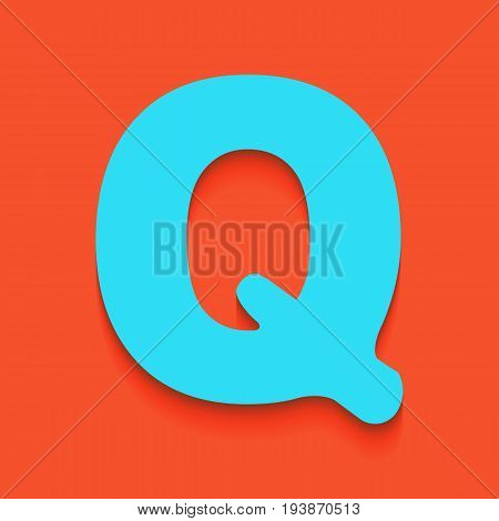 Letter Q sign design template element. Vector. Whitish icon on brick wall as background.