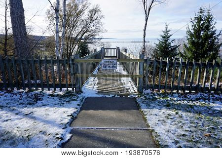 The stairway leading down the cliff, from Sunset Park to Bayfront Park, in Petoskey, Michigan, is closed for the season during November.