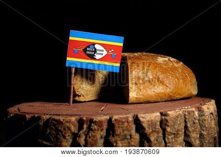 Swaziland Flag On A Stump With Bread Isolated