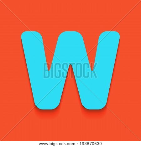 Letter W sign design template element. Vector. Whitish icon on brick wall as background.