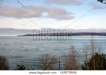 A view of Little Traverse Bay, from Sunset Park, in Petoskey, Michigan, during November.