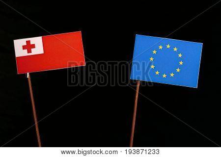 Tongan Flag With European Union (eu) Flag Isolated On Black Background