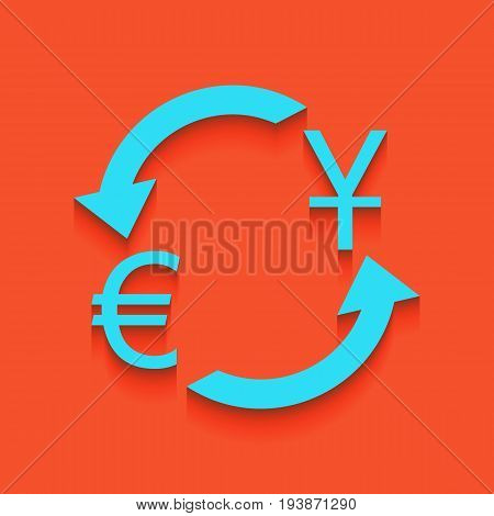 Currency exchange sign. Dollar and Euro. Vector. Whitish icon on brick wall as background.