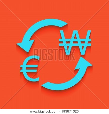 Currency exchange sign. Euro and South Korea Won. Vector. Whitish icon on brick wall as background.