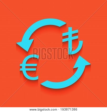 Currency exchange sign. Euro and Turkey Lira. Vector. Whitish icon on brick wall as background.