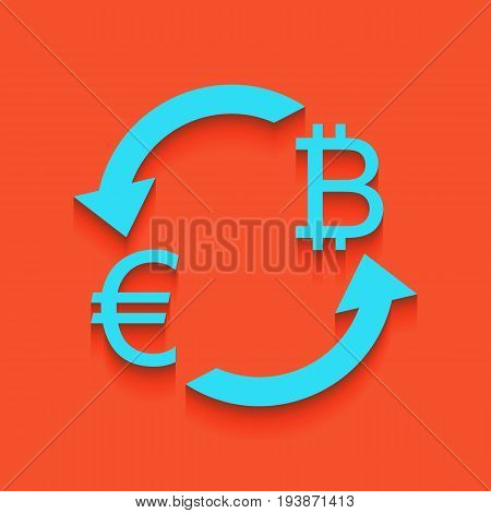 Currency exchange sign. Euro and Bitcoin. Vector. Whitish icon on brick wall as background.