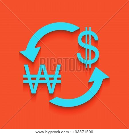 Currency exchange sign. South Korea Won and US Dollar. Vector. Whitish icon on brick wall as background.