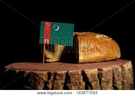 Turkmenistan Flag On A Stump With Bread Isolated