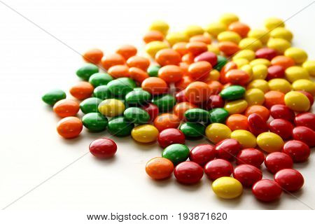 A variety of bite-sized chewy candies with a colorful candy shell