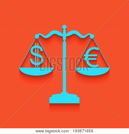 Justice scales with currency exchange sign. Vector. Whitish icon on brick wall as background.