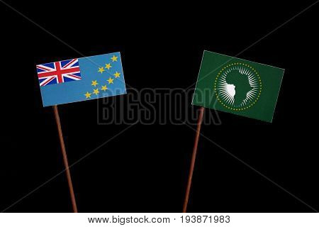 Tuvalu Flag With African Union Flag Isolated On Black Background