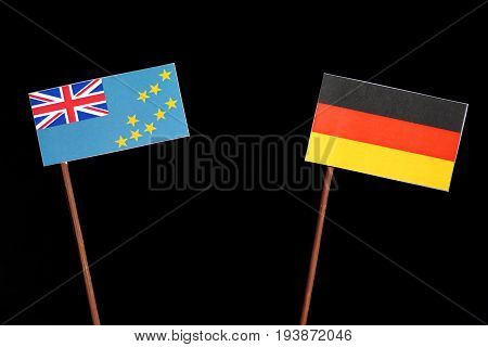 Tuvalu Flag With German Flag Isolated On Black Background