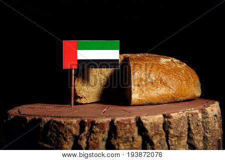 United Arab Emirates Flag On A Stump With Bread Isolated
