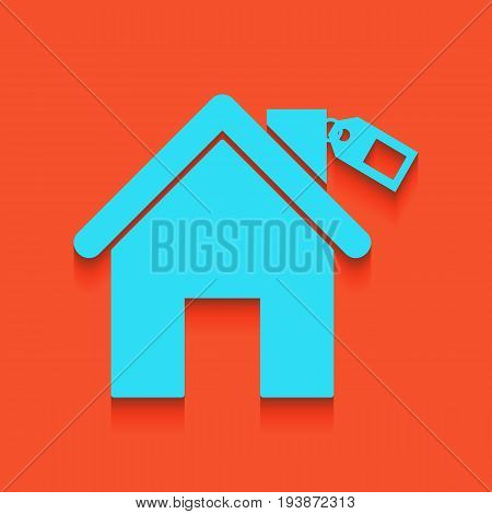 Home silhouette with tag. Vector. Whitish icon on brick wall as background.