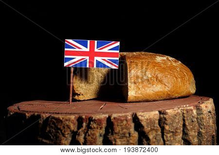 British Flag On A Stump With Bread Isolated