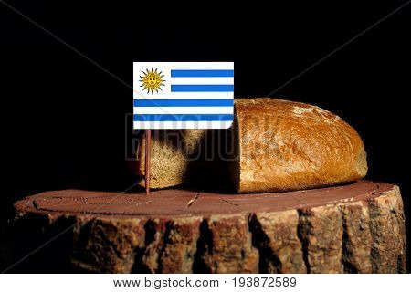 Uruguay Flag On A Stump With Bread Isolated