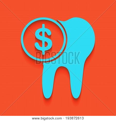 The cost of tooth treatment sign. Vector. Whitish icon on brick wall as background.