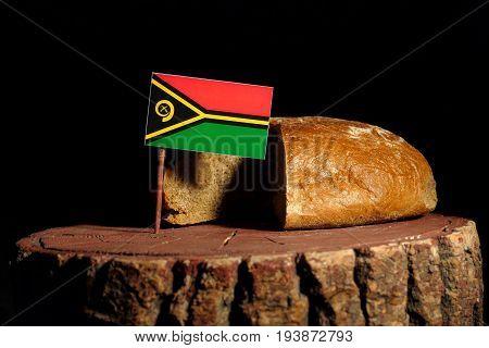 Vanuatu Flag On A Stump With Bread Isolated