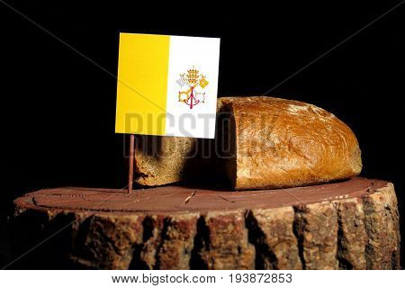 Vatican Flag On A Stump With Bread Isolated