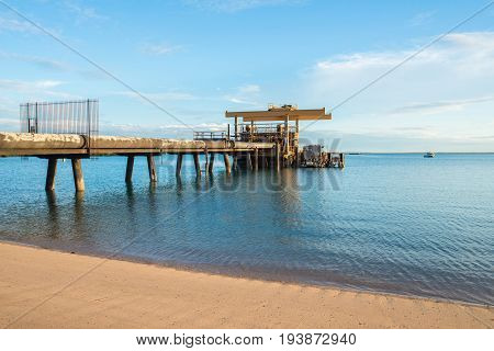 The aluminium pipes line station in the sea of Gove, Arnhem land, Northern territory of Australia.