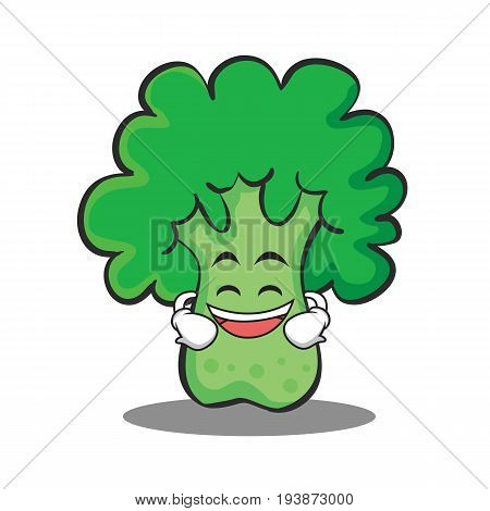 Grinning broccoli chracter cartoon style vector illustration