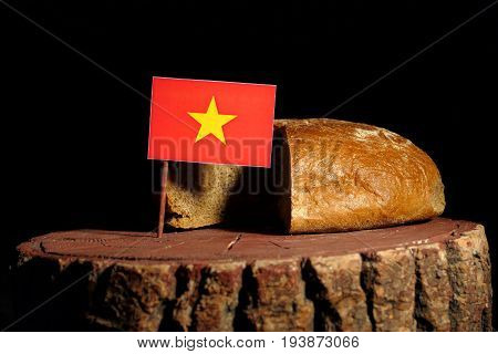 Vietnamese Flag On A Stump With Bread Isolated