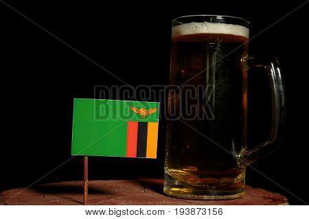 Zambia Flag With Beer Mug Isolated On Black Background