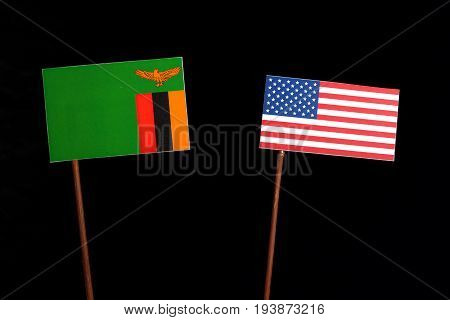 Zambia Flag With Usa Flag Isolated On Black Background
