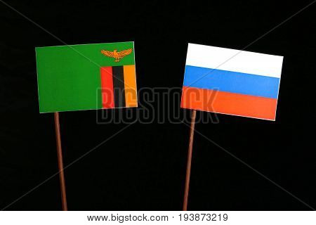 Zambia Flag With Russian Flag Isolated On Black Background