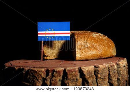 Cape Verde Flag On A Stump With Bread Isolated