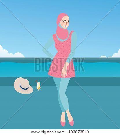 burqini woman girl wearing swim suit with hijab islam clothes vector