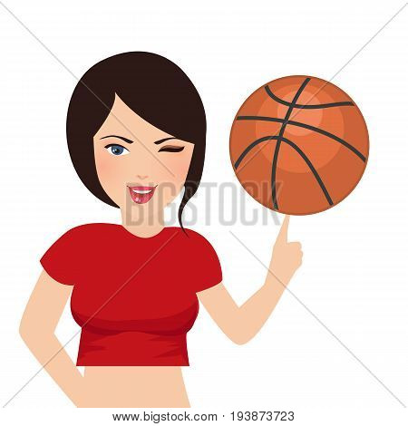basket ball hold by beautifull girl woman sport smile vector