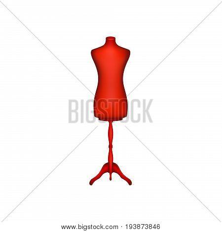 Vintage dress form in red design on white background