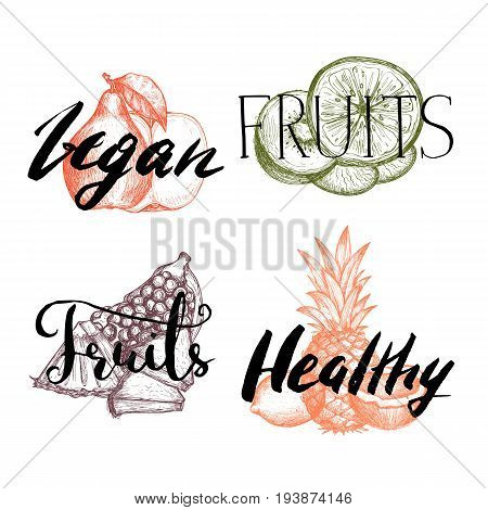 Healthy vegan food vintage labels set vector illustration. Vegetarian product lettering, fresh and natural fruit stickers. Apple, pear, lemon, pineapple, coconut, orange hand drawn sketches.
