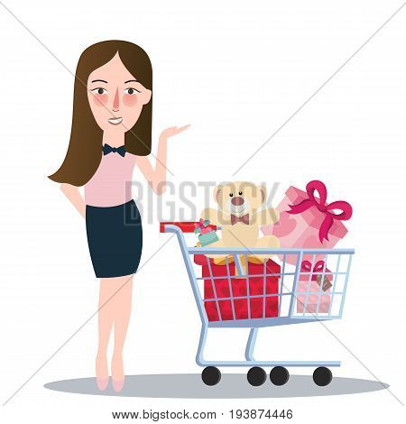 girl woman buying purchase presents toy doll push trolley cart vector