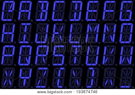 Digital font from capital letters on blue alphanumeric LED display isolated on black background