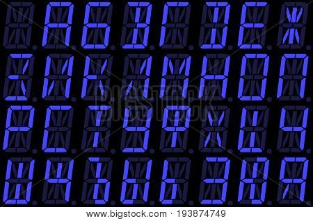 Digital Cyrillic font from capital letters on blue alphanumeric LED display isolated on black background