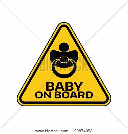 Baby On Board Sign With Child Nipple Silhouette In Yellow Triangle On A White Background. Car Sticke