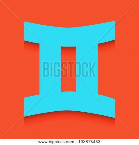 Gemini sign. Vector. Whitish icon on brick wall as background.