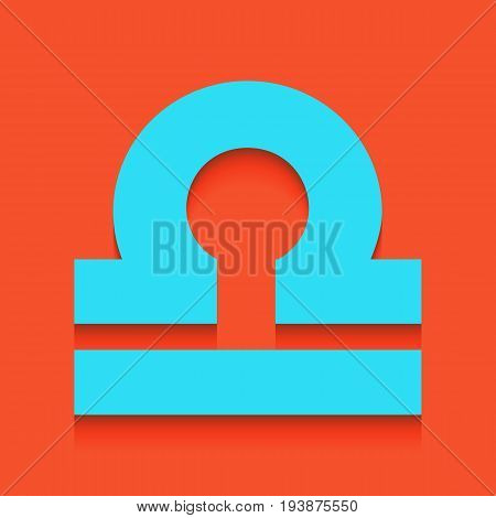 Libra sign illustration. Vector. Whitish icon on brick wall as background.
