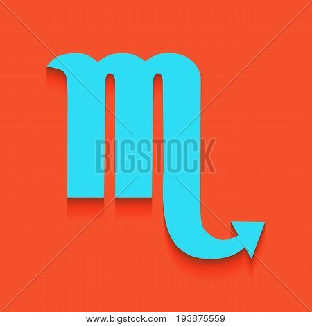 Scorpio sign illustration. Vector. Whitish icon on brick wall as background.