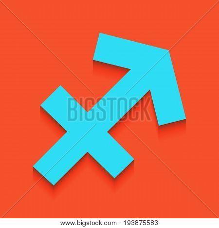 Sagittarius sign illustration. Vector. Whitish icon on brick wall as background.